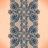 Lace pattern. Abstract lace ribbon seamless pattern with elements flowers. Template frame design for card. Lace Doily. Can be used for packaging, invitations royalty free illustration