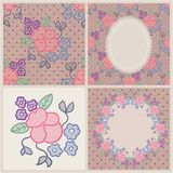 Set of four lace patterns with flowers Royalty Free Stock Photography