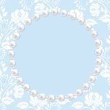 Lace and pearl frame Royalty Free Stock Photo