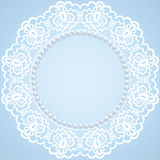 Lace and pearl frame Stock Photo