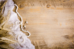 Lace Pearl Necklace Earrings And Ears Of Corn Rustic