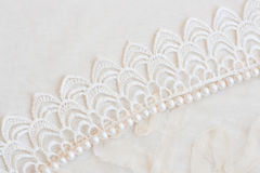 Lace and pearls vintage background Royalty Free Stock Images