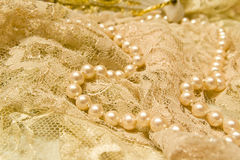 Lace and pearls. Vintage feel of lace and pearls Stock Photo