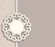 Lace pendant label on ornamental background. Elegant lace label on ornamental neutral background, pendant, mandala, lacy decoration, greeting card, invitation or Stock Photos