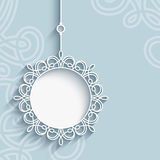 Lace pendant label on ornamental background Royalty Free Stock Photos