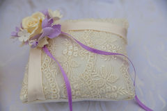 Lace pillow for wedding rings Stock Photography