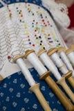 Lace pillow work Stock Photos