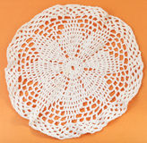 Lace placemat embroidered by crochet. Vintage knitting craftsmanship - lace placemat embroidered by crochet Royalty Free Stock Image