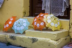 Lace of Lefkara. Lace products in Lefkara, Cyprus Royalty Free Stock Images