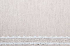 Lace ribbon on linen cloth background Royalty Free Stock Photos
