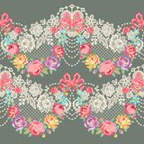 Lace Ribbon Romantic Floral Vector Seamless Pattern stock illustration