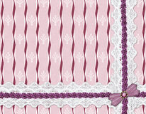 Lace ribbon on a striped background Stock Photography