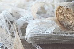 Lace ribbons royalty free stock images