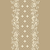 Lace roses on a blue background. Seamless pattern. Stock Images