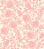 Lace Roses Seamless Pattern. Royalty Free Stock Photography