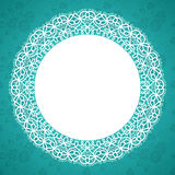 Lace round frame. Round lace frame with a place for text. Background for wedding invitation, greeting card. Vector Illustration Stock Image