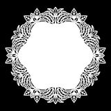 Lace round paper doily, lacy snowflake, greeting element, laser cut  template, doily to decorate the cake, Royalty Free Stock Photo