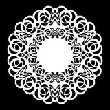 Lace round paper doily, lacy snowflake, greeting element, laser cut template, doily to decorate the cake, vector. Illustrations royalty free illustration