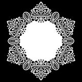Lace round paper doily, lacy snowflake, greeting element, laser cut  template, doily to decorate the cake Stock Image