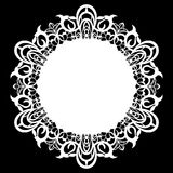 Lace round paper doily, lacy snowflake, greeting element, laser cut  template, doily to decorate the cake, Royalty Free Stock Photography