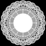 Lace round paper doily, lacy snowflake, greeting element package Royalty Free Stock Image