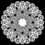 Lace round paper doily, lacy snowflake, greeting element package Stock Photography
