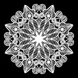 Lace round paper doily, lacy snowflake, greeting element package Stock Photo