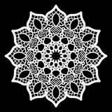 Lace round paper doily, lacy snowflake, greeting element package Stock Image