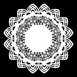 Lace round paper doily, lacy snowflake, greeting element,  template for cutting  plotter, laser cut  template, doily to decorate t Royalty Free Stock Images