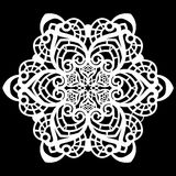 Lace round paper doily, lacy snowflake, greeting element,  template for cutting  plotter, laser cut  template, doily to decorate t Stock Images