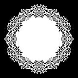 Lace round paper doily, lacy snowflake, greeting element,  template for cutting  Royalty Free Stock Photography