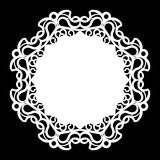 Lace round paper doily, lacy snowflake, greeting element,  template for cutting  plotter, round pattern, laser cut  template, doil Royalty Free Stock Image
