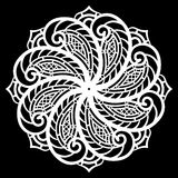 Lace round paper doily, lacy snowflake, greeting element, template for cutting plotter, round pattern, laser cut template, doil. Y to decorate the cake, vector stock illustration