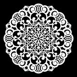 Lace round paper doily, lacy snowflake, greeting element,  template for cutting  plotter, round pattern, laser cut  template, doil Stock Photo