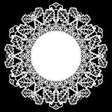 Lace round paper doily, patern of oak leaves, greeting element, laser cut  template, doily to decorate the cake Stock Photo