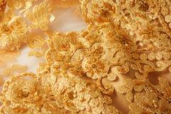 Lace and satin evening dress Stock Photos