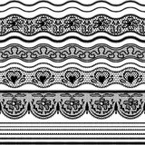 Lace seamless borders. Vector set of elements for Stock Images