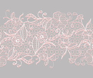 Lace seamless horizontal ribbon. White with pink flowers on a gray background. Royalty Free Stock Photography