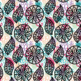 Lace seamless pattern with black flowers and leaves.Pink, blue purple background. Royalty Free Stock Photography
