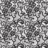 Lace seamless pattern with flowers. Lace black seamless pattern with flowers on white background Royalty Free Stock Photo