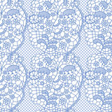 Lace seamless pattern with flowers. Blue lace seamless pattern with flowers on white background Stock Images