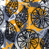 Lace seamless pattern with flowers and leaves. Gray, yellow background.