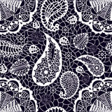 Lace seamless pattern with flowers paisley Royalty Free Stock Photos