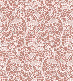 Lace seamless pattern with flowers. White lace seamless pattern with flowers on beige background Stock Image