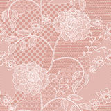 Lace seamless pattern with flowers. White lace seamless pattern with flowers on beige background Stock Images