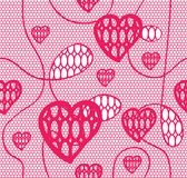Lace seamless pattern with hearts Royalty Free Stock Photo