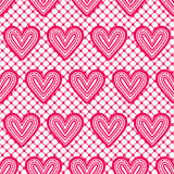 Lace seamless pattern with hearts. Vector illustration. Stock Images