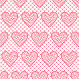 Lace seamless pattern with hearts. Vector illustration. Royalty Free Stock Images