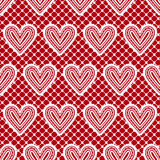 Lace seamless pattern with hearts. Vector illustration. Royalty Free Stock Photo