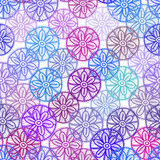 Lace seamless pattern with lilac pink purple blue flowers on white background. Pastel colors, abstract art. Vector Stock Image